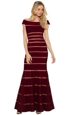 Montique - Scarlett Bodycon Gown - Burgundy - Front