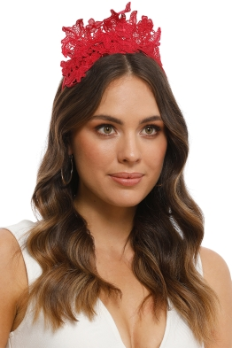 Morgan and Taylor - Sassi Fascinator - Red - Side Model