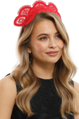 Morgan and Taylor - Verona Fascinator - Red - Side