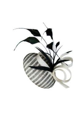 Morgan & Taylor - Striped Beret With Coque Feather