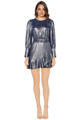 Mossman - The Boiling Point Mini Dress - Navy Silver Metallic - Front