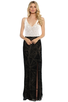 Mr K - Gena Beaded Dress - White Black - Front