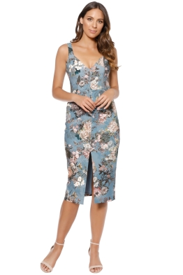 Nicholas - Arielle Floral Quilted Dress - Blue Floral - Front