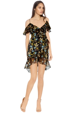 Nicholas - Ava Floral Wrap Dress - Black Floral - Side