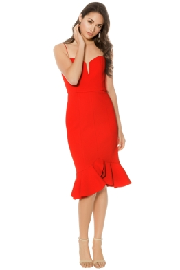 Nicholas - Bandage Bra Dress Flip Hem - Red - Front