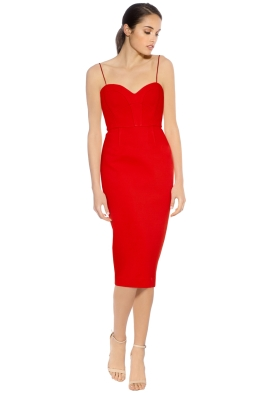 Nicholas - Bandage Quilted Midi Dress - Red - Front