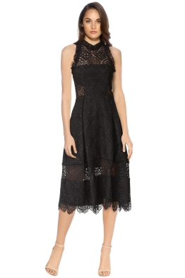 Nicholas - Moroccan Tile Midi Dress - Black - Front
