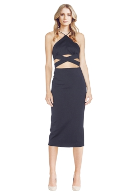 Nicholas - Ponti Wrap Cross Back Dress - Front