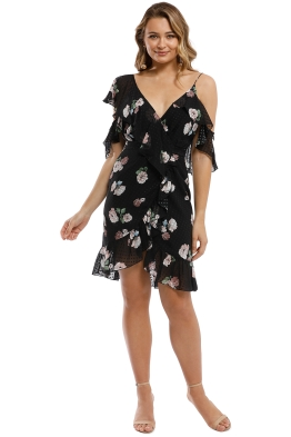 Nicholas - Rose Wrap Mini Dress - Black - Front
