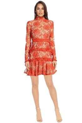 Nicholas - Rosie Lace High Neck - Red - Front
