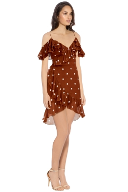 Nicholas - Rust Spot Wrap Frill Mini Dress - Brown - Side