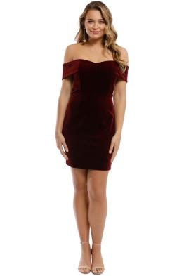 Nicholas - Velvet Mini Dress - Bordeaux - Front
