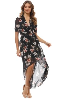 Nicholas the Label - Black Rose Wrap Drape Dress - Black - Front