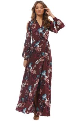 Nicholas the Label - Burgundy Floral Wrap Dress - Burgundy - Front
