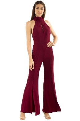 29db13be7928 Nicholas the Label - Crepe Sleeveless Jumpsuit - Burgundy - Front