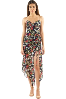 Nicholas the Label - Eva Floral Drawstring Dress - Black Floral - Front