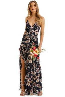 Nicholas the Label - Garden Rose Tie Front Maxi Dress - Navy - Front