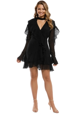 Nicholas the Label - Georgette LS Wrap Mini Dress - Black - Front