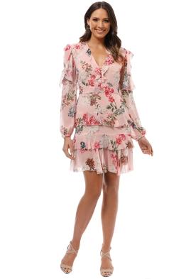 Nicholas The Label - Lilac Floral Frill Mini Dress - Print - Front