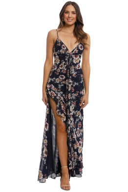 Nicholas the Label - Garden Rose Tie Front Maxi Dress - Navy - Front