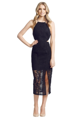 NicholasTheLabel - Fleur Lace Bross Back Dress - Front - Black