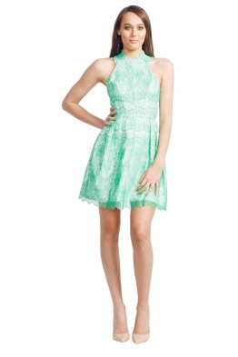 Nicola Finetti - Scallop Lace Dress - Front - Green