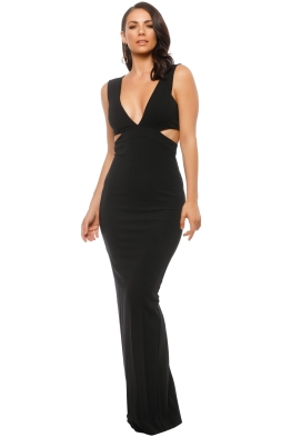 Nicole Miller - Carlessa Cut Out Gown - Black - Front