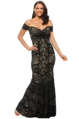 Nicole Miller - Loren Stretch Lace Gown - Nude Black - Front
