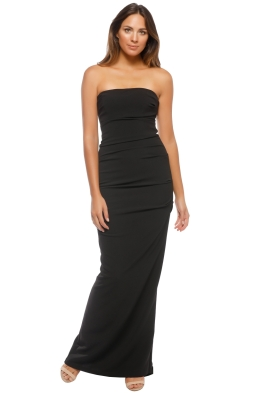Nicole Miller Tick Strapless Gown - Black - Front