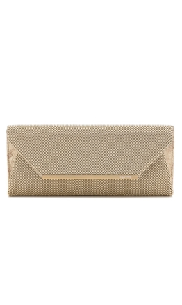 Olga Berg - Eloise Mesh Envelope Clutch - Light Gold