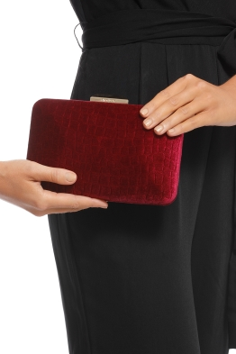 Olga Berg - Annalise Croc Embossed Velvet Clutch - Burgundy - Product
