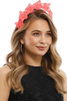 Olga Berg - Clare Floral Headband - Coral - Product