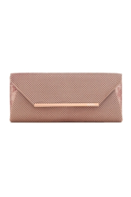 Olga Berg - Eloise Ball Mesh Clutch - Rose Gold - Front