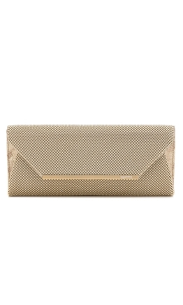 Olga Berg - Eloise Mesh Envelope Clutch - Light Gold - Front