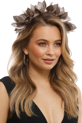 Olga Berg - Jess Floral Headband - Pewter - Side