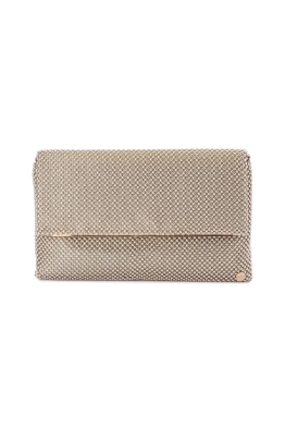 Olga Berg - Kimberly Ball Mesh Foldover Clutch - Gold - Front