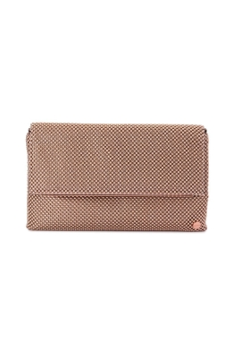 Olga Berg - Kimberly Ball Mesh Foldover Clutch - Rose Gold - Front