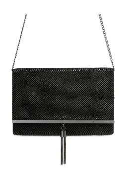 Olga Berg - Sara Pyramid Mesh Clutch - Black