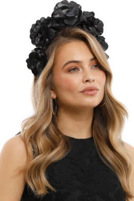 Olga Berg - Flora Fascinator - Black - Side Model