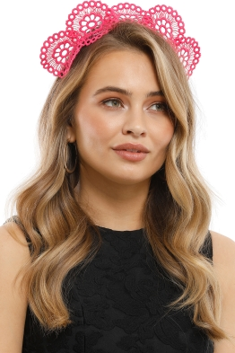 Olga Berg - Claire Lace Headband - Pink - Model
