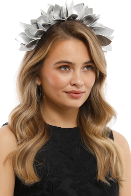 Olga Berg - Jess Floral Fascinator - Silver - Side Model
