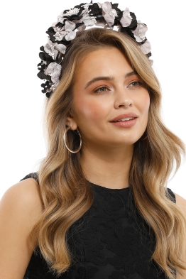 Olga Berg - Karlie Lace Fascinator - Black - Side Model