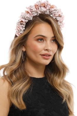 Olga Berg - Karlie Floral Fascinator - Blush - Side Model