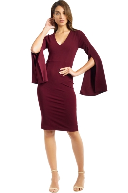 Pasduchas - Amaryllis Midi Dress - Wine - Front