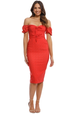 Pasduchas - Arcadia Tie Midi Dress - Poppy - Front
