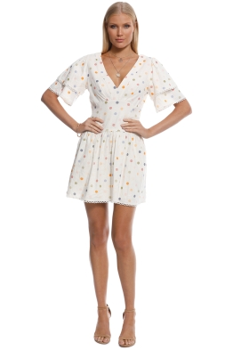 Pasduchas - Cosmo Spot Dress - Cream - Front