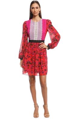 Perseverance London - Guipure Front Detail Mini Dress - Pink Multi - Front