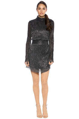 Rebecca Vallance - Paparazzi Long Sleeve Mini Dress - Metallic - Front