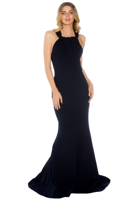 Rebecca Vallance - Carla Tie Back Gown - Navy - Front