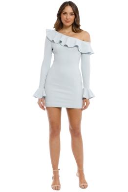 Rebecca Vallance - Aegean Off Shoulder Mini Dress - Blue - Front